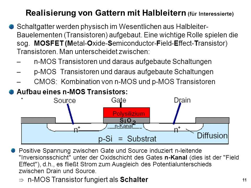 11 Realisierung von Gattern mit Halbleitern (für Interessierte) Schaltgatter werden physisch im Wesentlichen aus Halbleiter- Bauelementen (Transistore