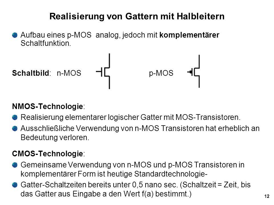 12 Realisierung von Gattern mit Halbleitern NMOS-Technologie: Realisierung elementarer logischer Gatter mit MOS-Transistoren. Ausschließliche Verwendu