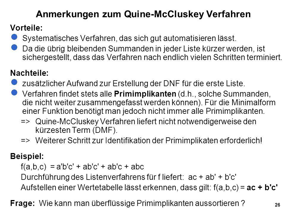 26 Anmerkungen zum Quine-McCluskey Verfahren Vorteile: Systematisches Verfahren, das sich gut automatisieren lässt. Da die übrig bleibenden Summanden