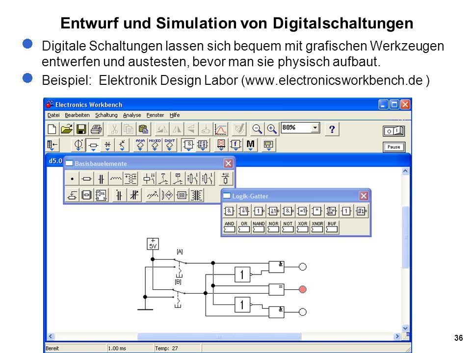 36 Entwurf und Simulation von Digitalschaltungen Digitale Schaltungen lassen sich bequem mit grafischen Werkzeugen entwerfen und austesten, bevor man