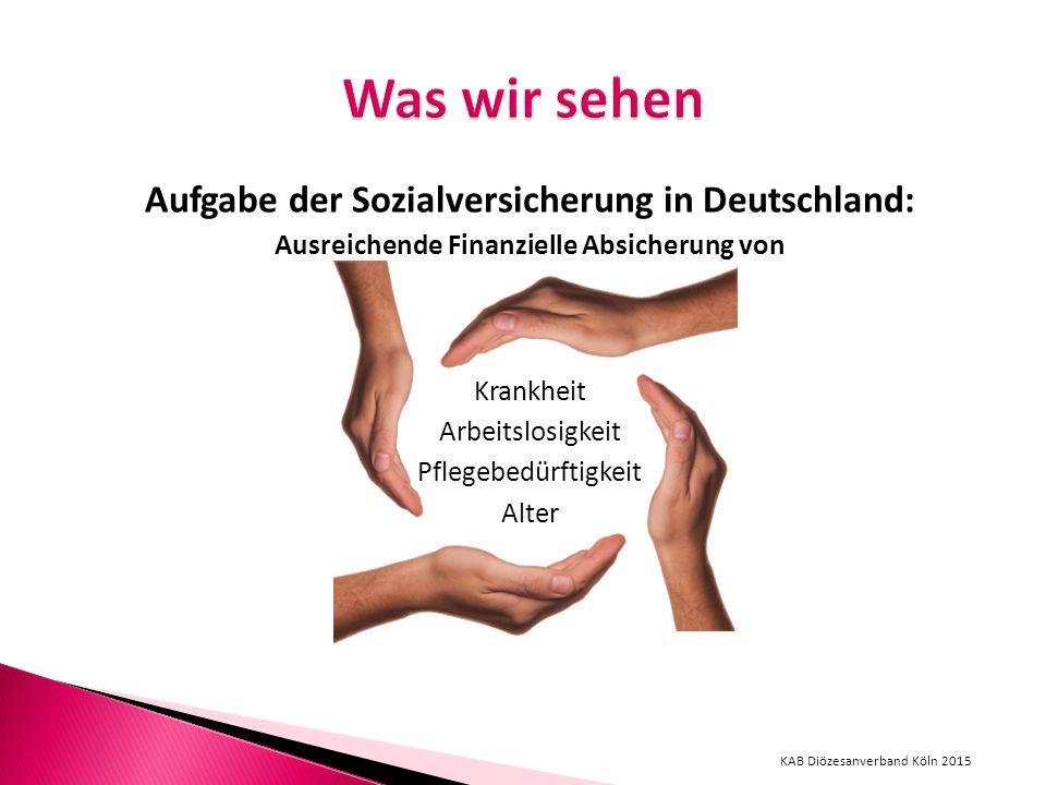 Aufgabe der Sozialversicherung in Deutschland: Ausreichende Finanzielle Absicherung von Krankheit Arbeitslosigkeit Pflegebedürftigkeit Alter KAB Diözesanverband Köln 2015
