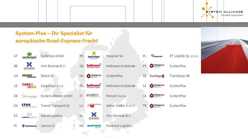 System-Plus – Ihr Spezialist für europäische Road-Express-Fracht AT BE CH CZ DE DK ES FI Systempo GmbH Wim Bosman B.V. Streck AG Cargologix s.r.o. Sys