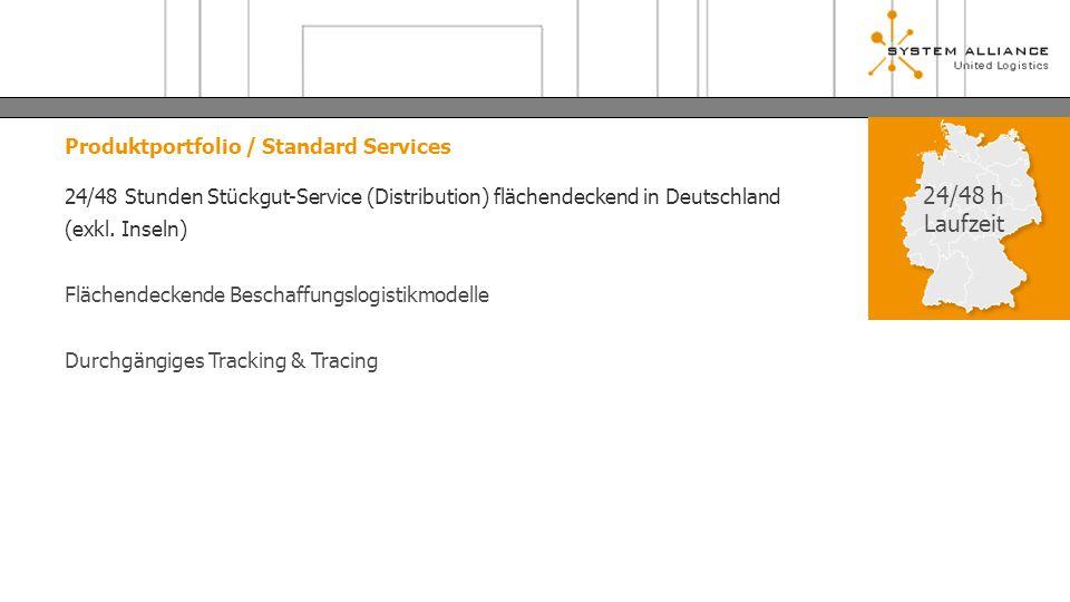 Produktportfolio / Standard Services 24/48 Stunden Stückgut-Service (Distribution) flächendeckend in Deutschland (exkl. Inseln) Flächendeckende Bescha