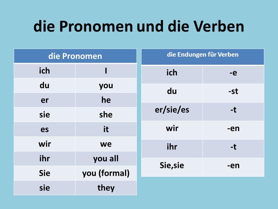 die Pronomen und die Verben die Pronomen ichI duyou erhe sieshe esit wirwe ihryou all Sieyou (formal) siethey die Endungen für Verben ich-e du-st er/s