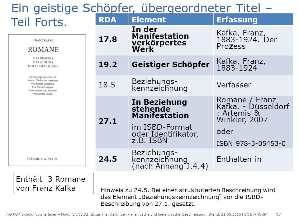 AG RDA Schulungsunterlagen – Modul 5A.02.02: Zusammenstellungen - analytische und hierarchische Beschreibung | Stand: 21.05.2015 | CC BY-NC-SA 17 RDAE