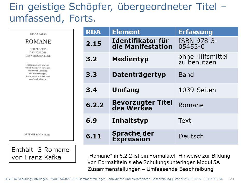AG RDA Schulungsunterlagen – Modul 5A.02.02: Zusammenstellungen - analytische und hierarchische Beschreibung | Stand: 21.05.2015 | CC BY-NC-SA 20 RDAE