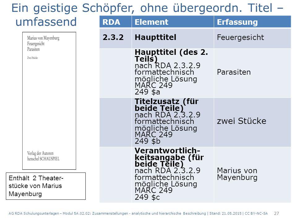 AG RDA Schulungsunterlagen – Modul 5A.02.02: Zusammenstellungen - analytische und hierarchische Beschreibung | Stand: 21.05.2015 | CC BY-NC-SA 27 RDAE