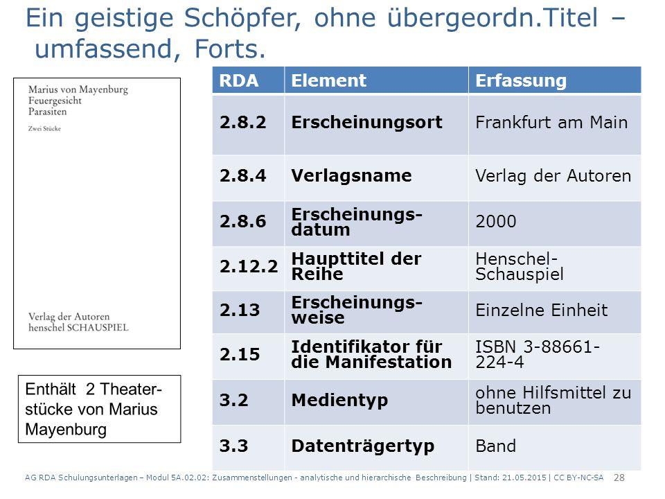 AG RDA Schulungsunterlagen – Modul 5A.02.02: Zusammenstellungen - analytische und hierarchische Beschreibung | Stand: 21.05.2015 | CC BY-NC-SA 28 RDAE