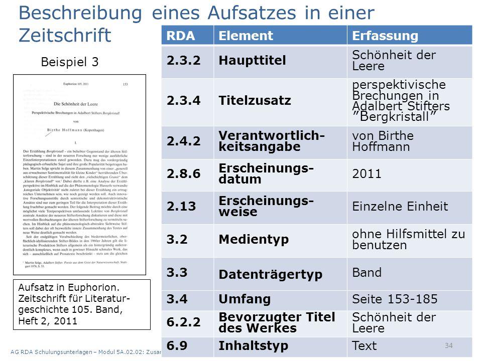 AG RDA Schulungsunterlagen – Modul 5A.02.02: Zusammenstellungen - analytische und hierarchische Beschreibung | Stand: 21.05.2015 | CC BY-NC-SA 34 RDAE