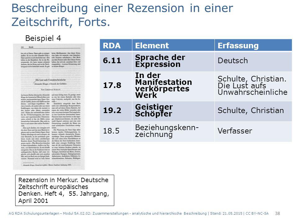 AG RDA Schulungsunterlagen – Modul 5A.02.02: Zusammenstellungen - analytische und hierarchische Beschreibung | Stand: 21.05.2015 | CC BY-NC-SA 38 RDAE