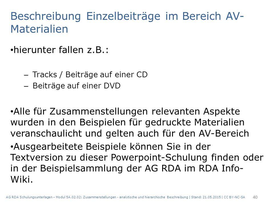 Beschreibung Einzelbeiträge im Bereich AV- Materialien hierunter fallen z.B.: – Tracks / Beiträge auf einer CD – Beiträge auf einer DVD Alle für Zusam
