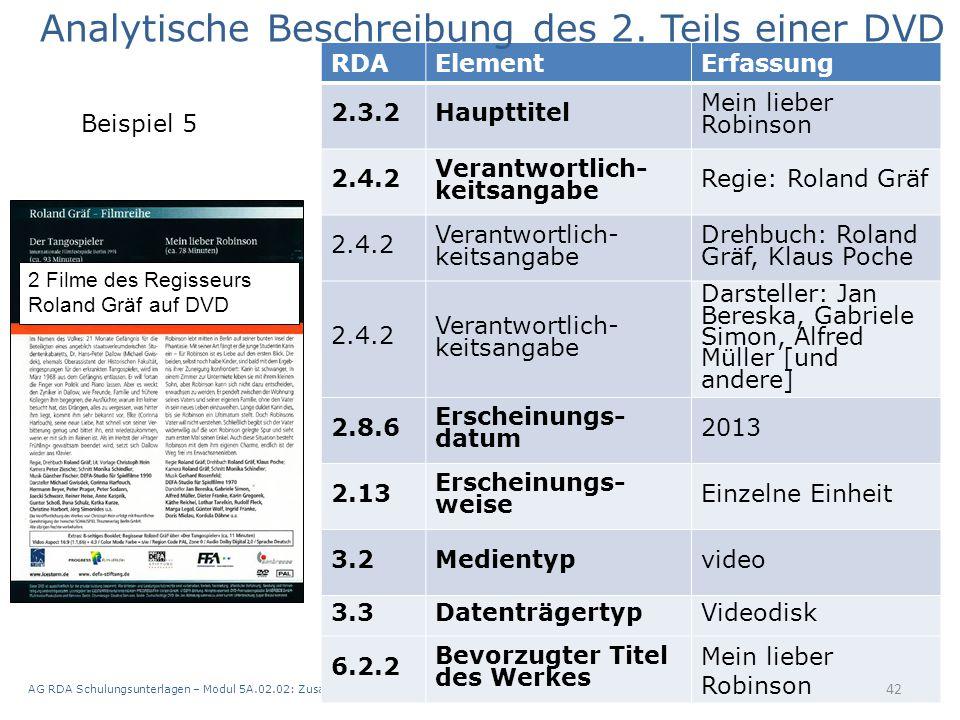 AG RDA Schulungsunterlagen – Modul 5A.02.02: Zusammenstellungen - analytische und hierarchische Beschreibung | Stand: 21.05.2015 | CC BY-NC-SA 42 RDAE