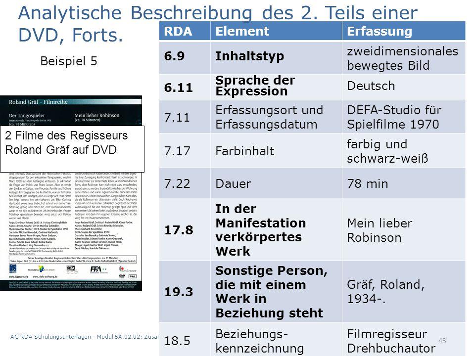 AG RDA Schulungsunterlagen – Modul 5A.02.02: Zusammenstellungen - analytische und hierarchische Beschreibung | Stand: 21.05.2015 | CC BY-NC-SA 43 RDAE