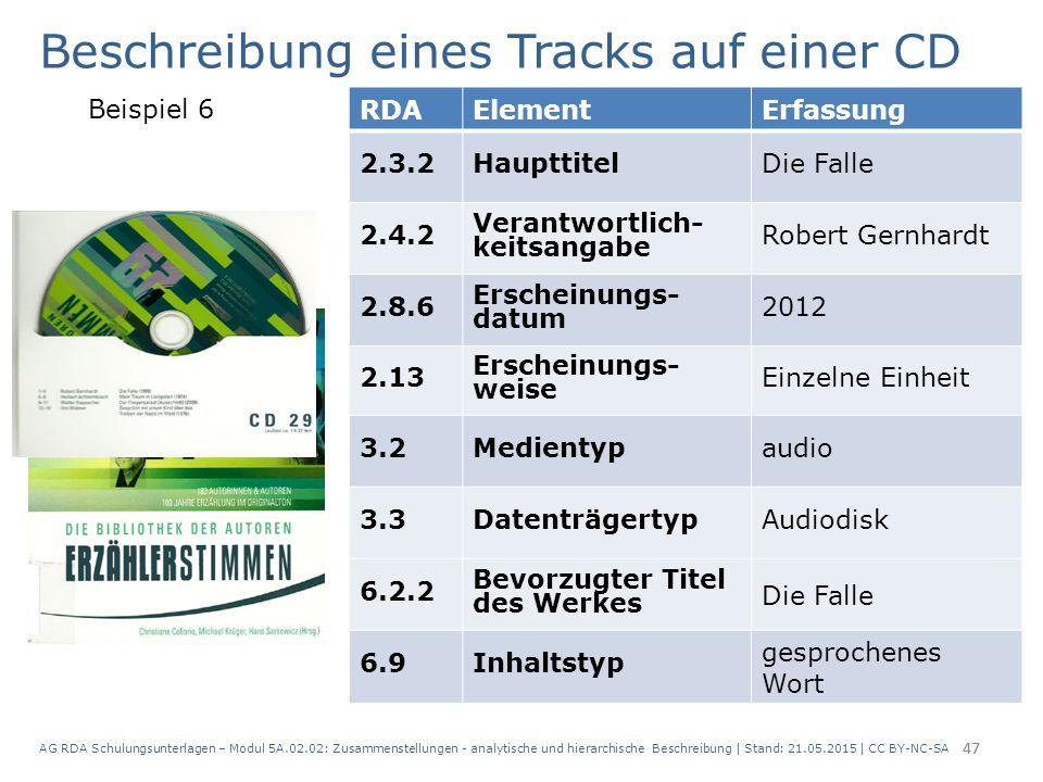 AG RDA Schulungsunterlagen – Modul 5A.02.02: Zusammenstellungen - analytische und hierarchische Beschreibung | Stand: 21.05.2015 | CC BY-NC-SA 47 RDAE