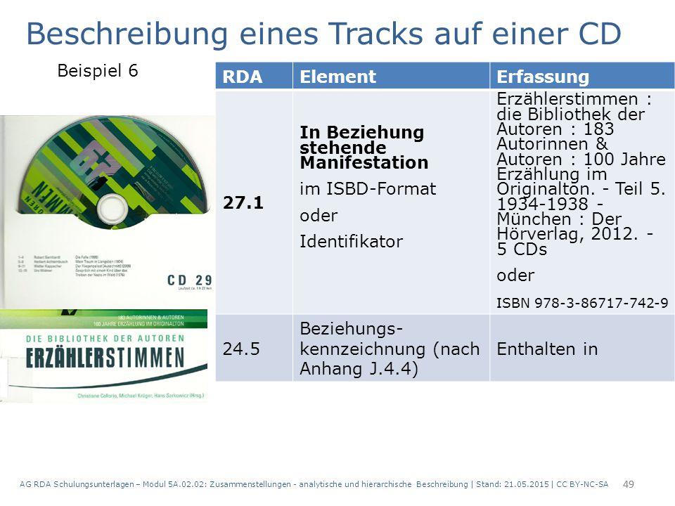 AG RDA Schulungsunterlagen – Modul 5A.02.02: Zusammenstellungen - analytische und hierarchische Beschreibung | Stand: 21.05.2015 | CC BY-NC-SA 49 RDAE