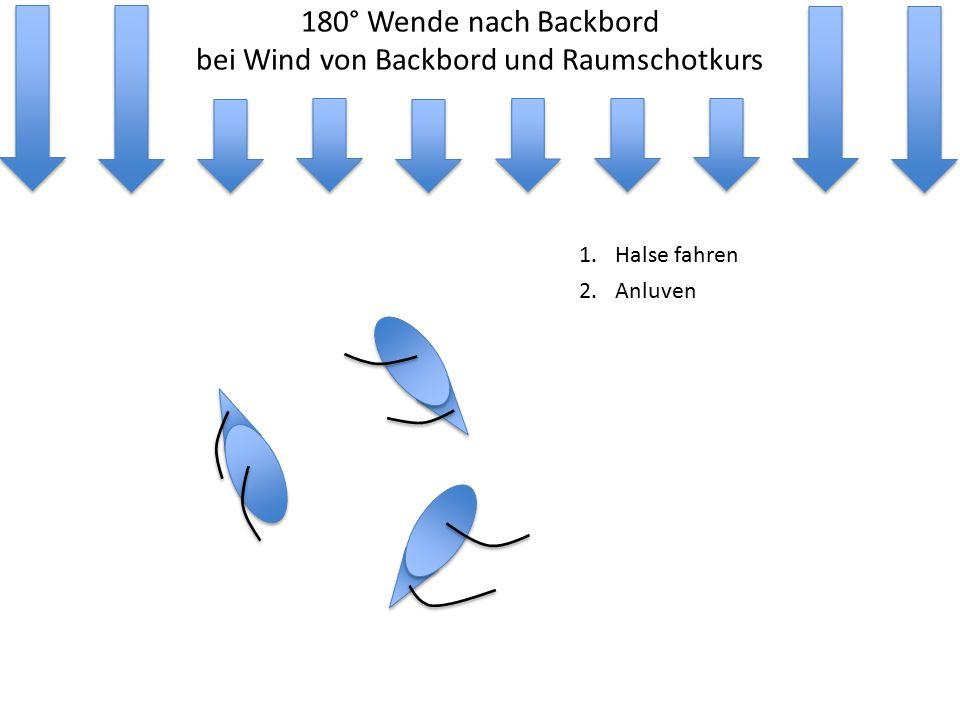 180° Wende nach Backbord bei Wind von Backbord und Raumschotkurs 1.Halse fahren 2.Anluven