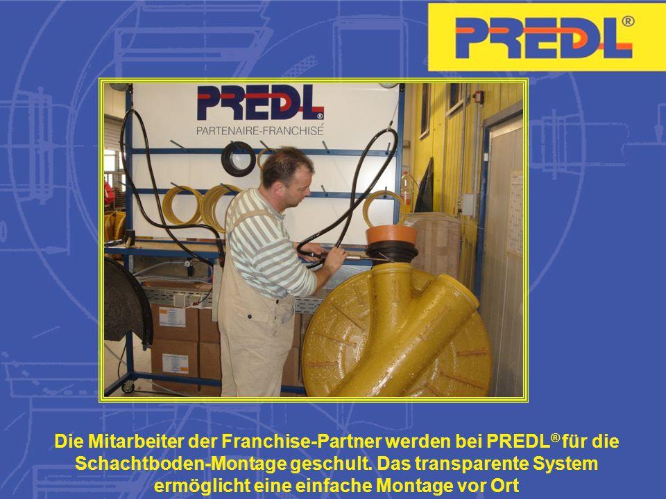 Die Mitarbeiter der Franchise-Partner werden bei PREDL ® für die Schachtboden-Montage geschult.