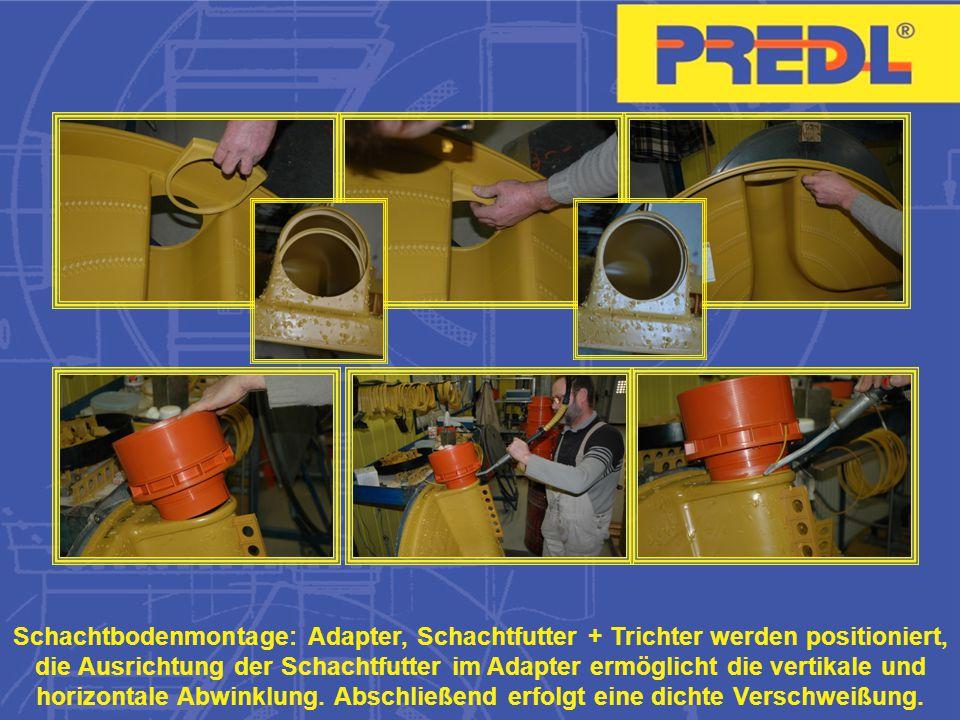 Schachtbodenmontage: Adapter, Schachtfutter + Trichter werden positioniert, die Ausrichtung der Schachtfutter im Adapter ermöglicht die vertikale und horizontale Abwinklung.