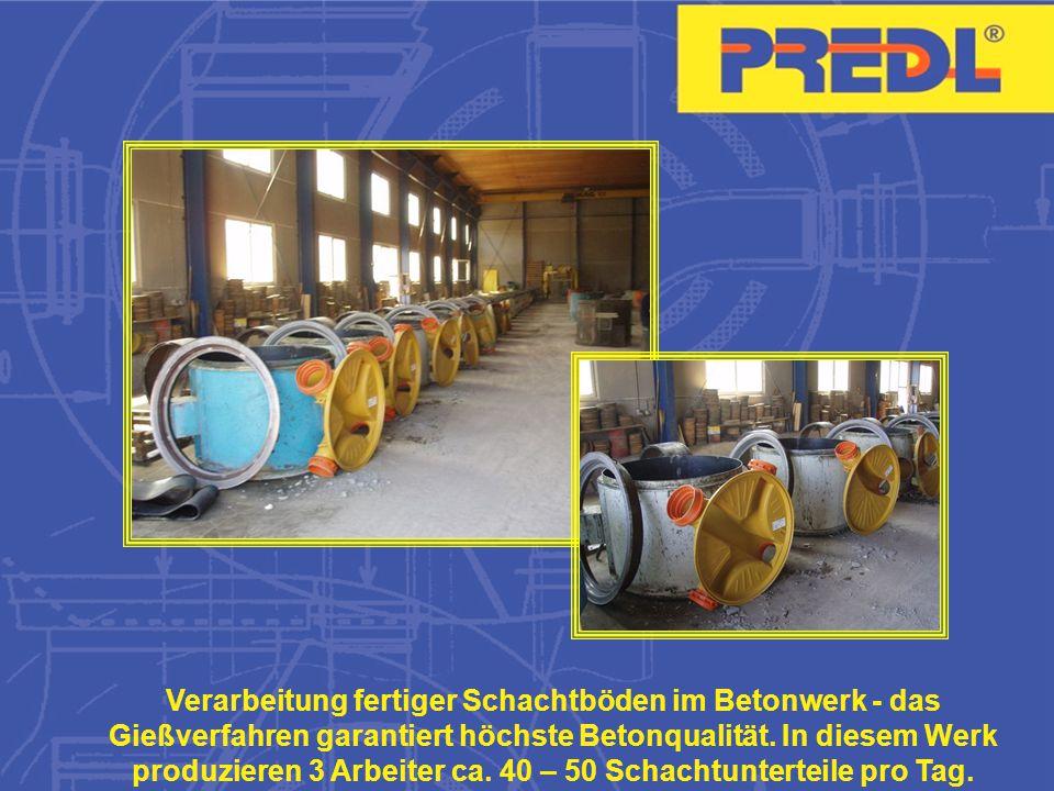 Verarbeitung fertiger Schachtböden im Betonwerk - das Gießverfahren garantiert höchste Betonqualität.