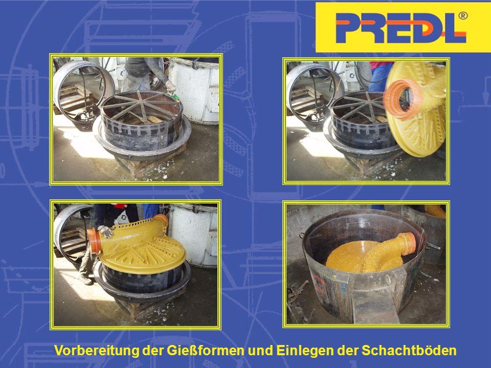Vorbereitung der Gießformen und Einlegen der Schachtböden