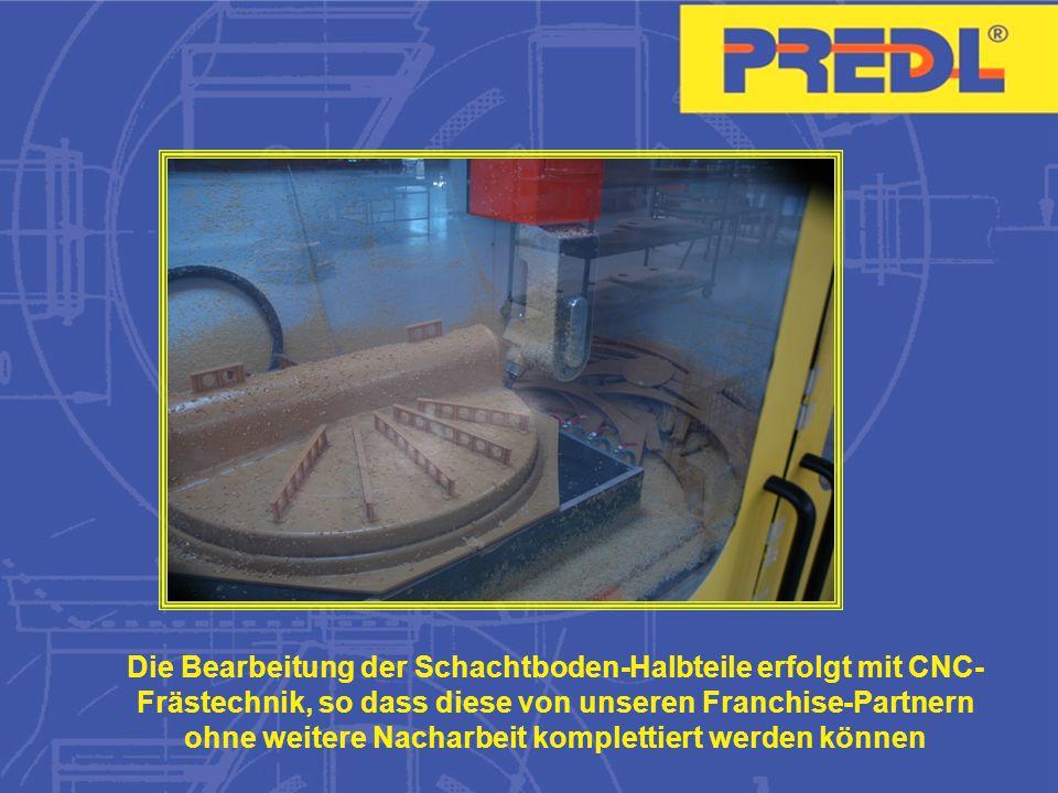 Die Bearbeitung der Schachtboden-Halbteile erfolgt mit CNC- Frästechnik, so dass diese von unseren Franchise-Partnern ohne weitere Nacharbeit komplettiert werden können