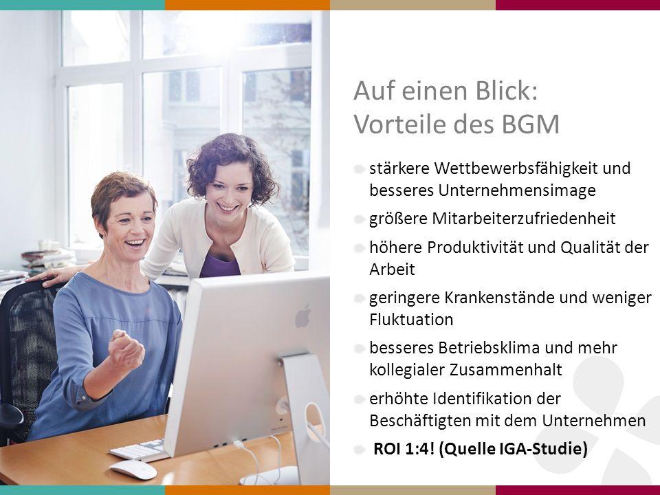 Auf einen Blick: Vorteile des BGM stärkere Wettbewerbsfähigkeit und besseres Unternehmensimage größere Mitarbeiterzufriedenheit höhere Produktivität u