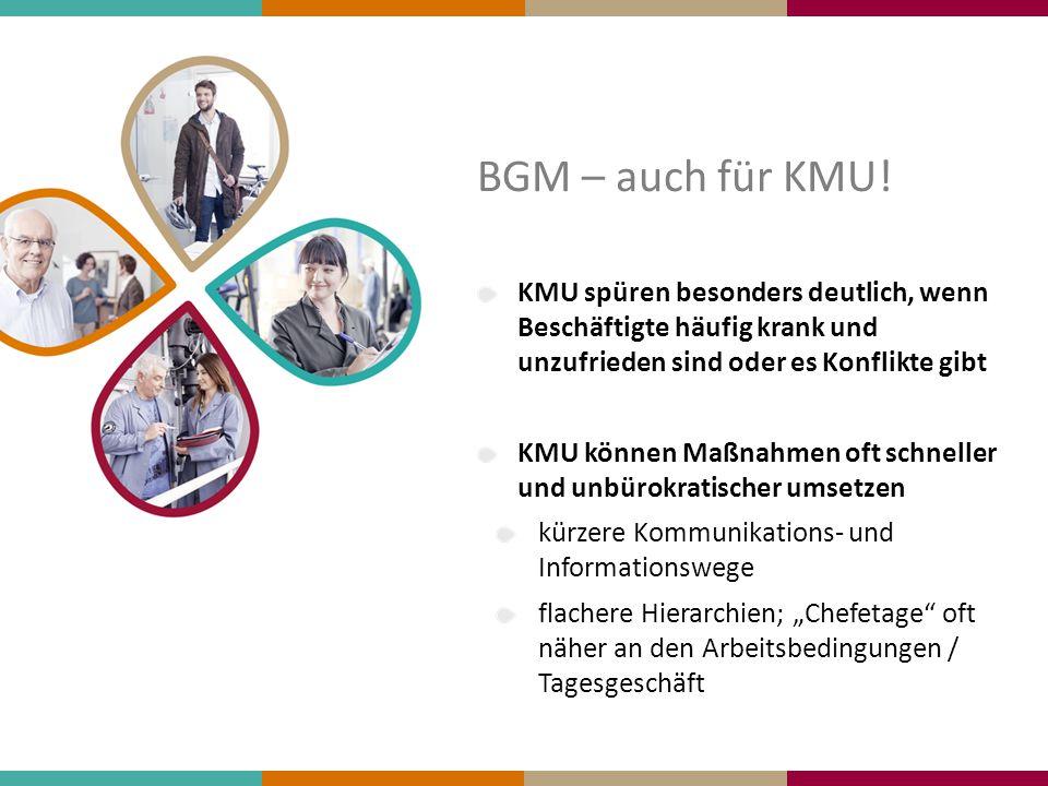 BGM – auch für KMU! KMU spüren besonders deutlich, wenn Beschäftigte häufig krank und unzufrieden sind oder es Konflikte gibt KMU können Maßnahmen oft