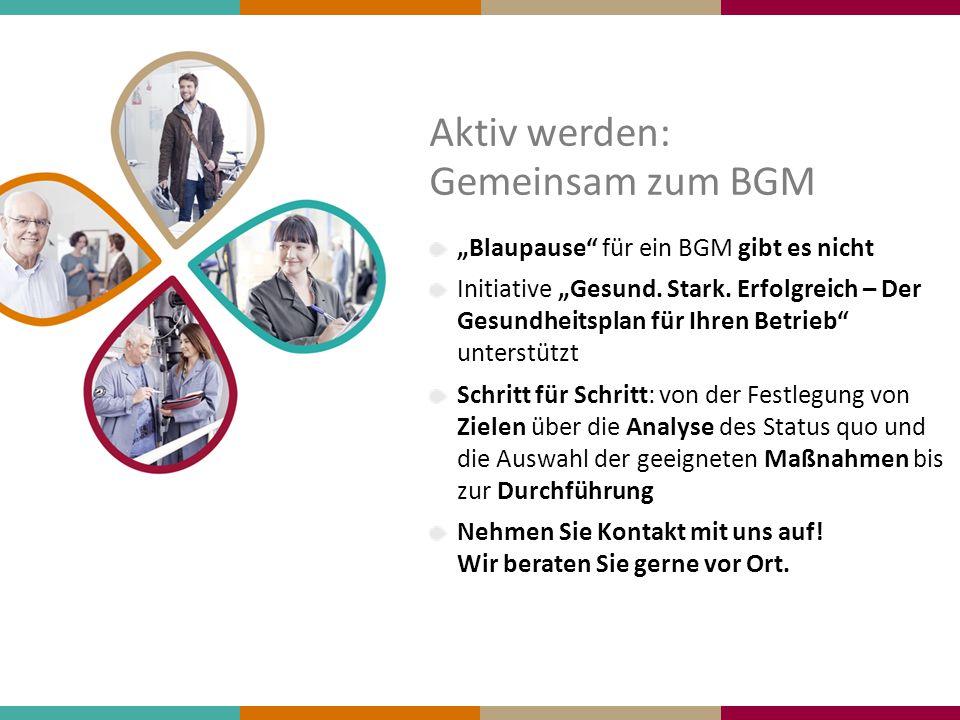 """Aktiv werden: Gemeinsam zum BGM """"Blaupause"""" für ein BGM gibt es nicht Initiative """"Gesund. Stark. Erfolgreich – Der Gesundheitsplan für Ihren Betrieb"""""""