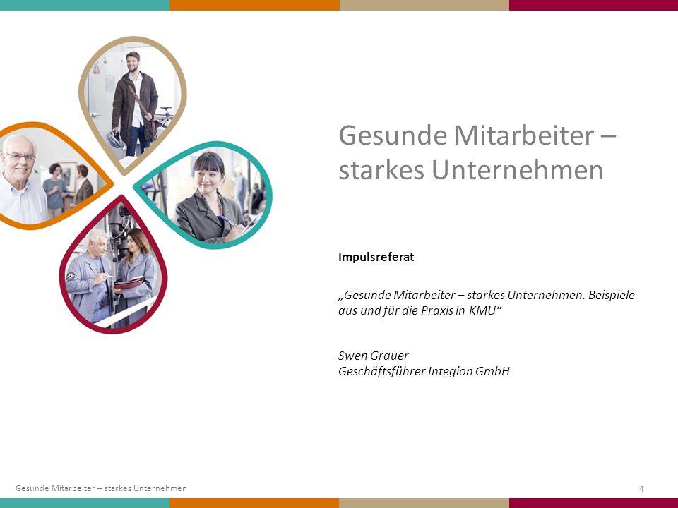 """4 Impulsreferat """"Gesunde Mitarbeiter – starkes Unternehmen. Beispiele aus und für die Praxis in KMU"""" Swen Grauer Geschäftsführer Integion GmbH Gesunde"""