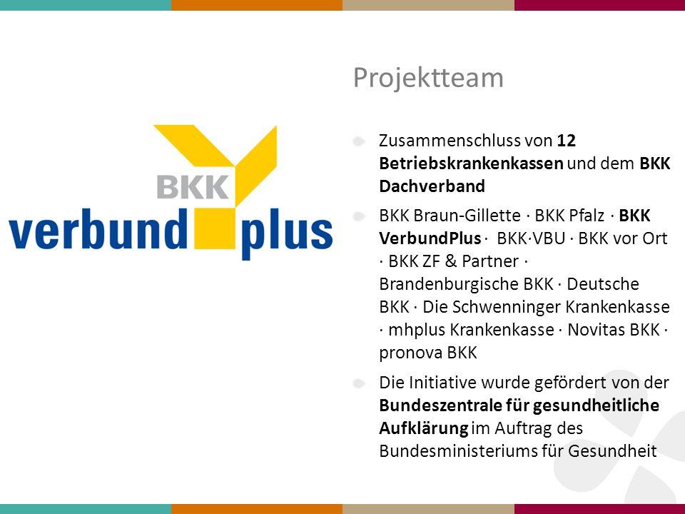 Projektteam Zusammenschluss von 12 Betriebskrankenkassen und dem BKK Dachverband BKK Braun-Gillette ∙ BKK Pfalz ∙ BKK VerbundPlus ∙ BKK·VBU ∙ BKK vor