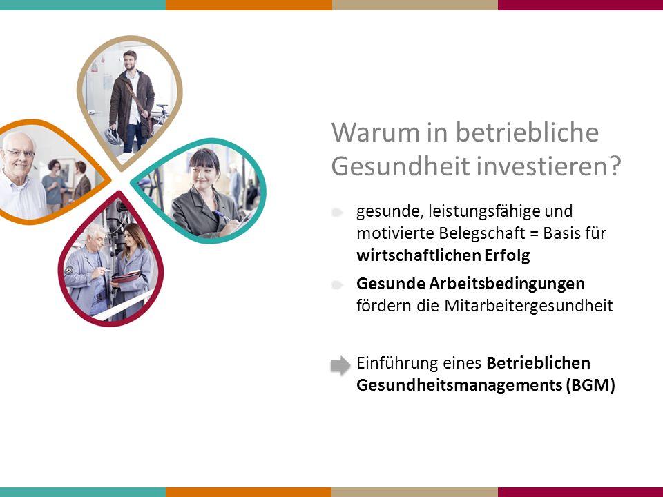 Warum in betriebliche Gesundheit investieren? gesunde, leistungsfähige und motivierte Belegschaft = Basis für wirtschaftlichen Erfolg Gesunde Arbeitsb