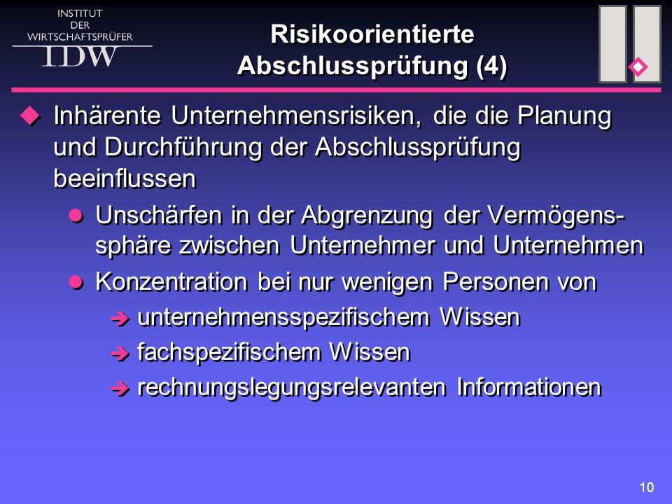10 Risikoorientierte Abschlussprüfung (4)  Inhärente Unternehmensrisiken, die die Planung und Durchführung der Abschlussprüfung beeinflussen Unschärf