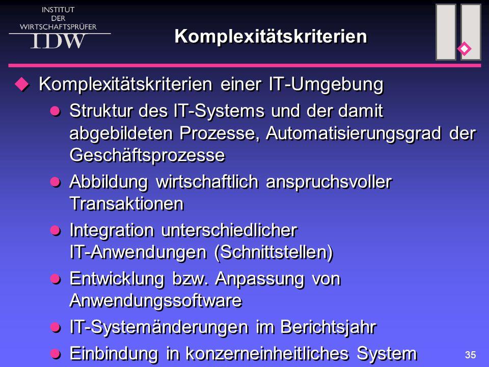35 Komplexitätskriterien  Komplexitätskriterien einer IT-Umgebung Struktur des IT-Systems und der damit abgebildeten Prozesse, Automatisierungsgrad d