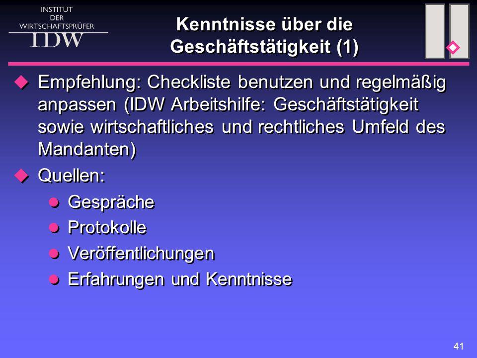 41 Kenntnisse über die Geschäftstätigkeit (1)  Empfehlung: Checkliste benutzen und regelmäßig anpassen (IDW Arbeitshilfe: Geschäftstätigkeit sowie wi