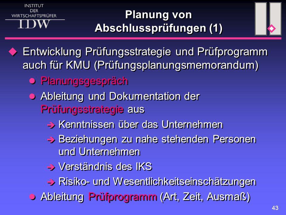 43 Planung von Abschlussprüfungen (1)  Entwicklung Prüfungsstrategie und Prüfprogramm auch für KMU (Prüfungsplanungsmemorandum) Planungsgespräch Able