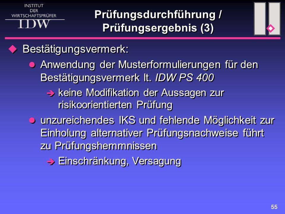 55 Prüfungsdurchführung / Prüfungsergebnis (3)  Bestätigungsvermerk: Anwendung der Musterformulierungen für den Bestätigungsvermerk lt. IDW PS 400 