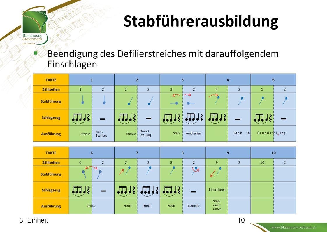 Stabführerausbildung  Beendigung des Defilierstreiches mit darauffolgendem Einschlagen 3. Einheit10