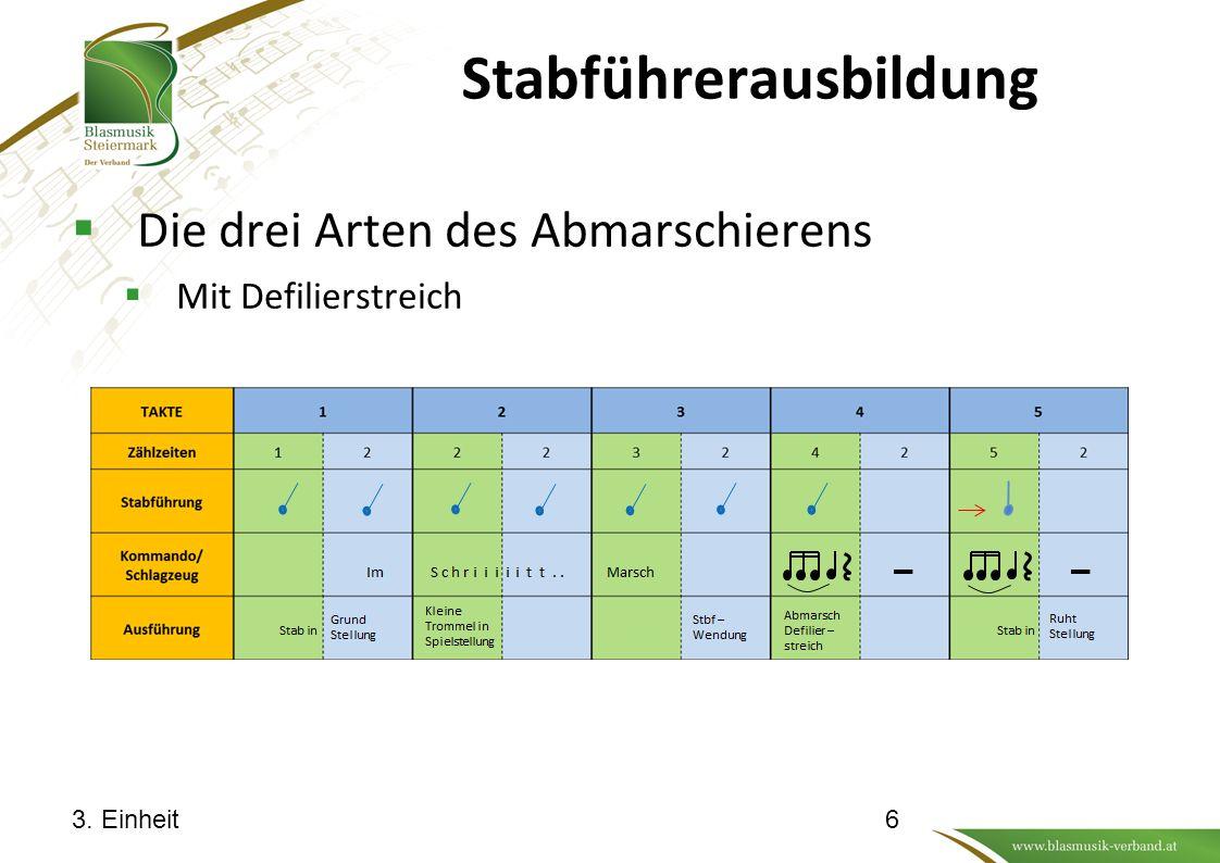 Stabführerausbildung  Die drei Arten des Abmarschierens  Mit Defilierstreich 3. Einheit6