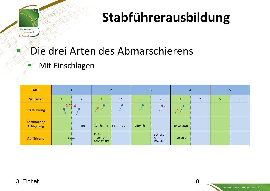 Stabführerausbildung  Die drei Arten des Abmarschierens  Mit Einschlagen 3. Einheit8