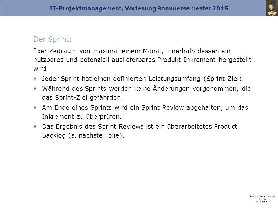 IT-Projektmanagement, Vorlesung Sommersemester 2015 Prof. Dr. Herrad Schmidt SS 15 V2, Folie 11 Der Sprint: fixer Zeitraum von maximal einem Monat, in
