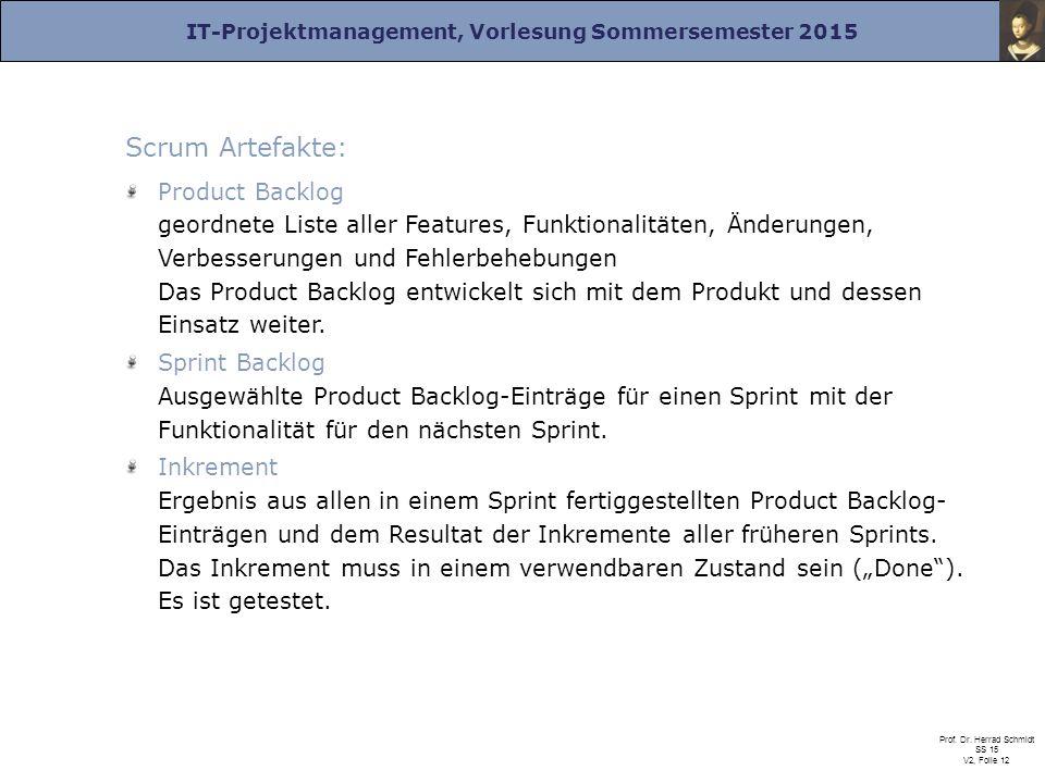 IT-Projektmanagement, Vorlesung Sommersemester 2015 Prof. Dr. Herrad Schmidt SS 15 V2, Folie 12 Scrum Artefakte: Product Backlog geordnete Liste aller