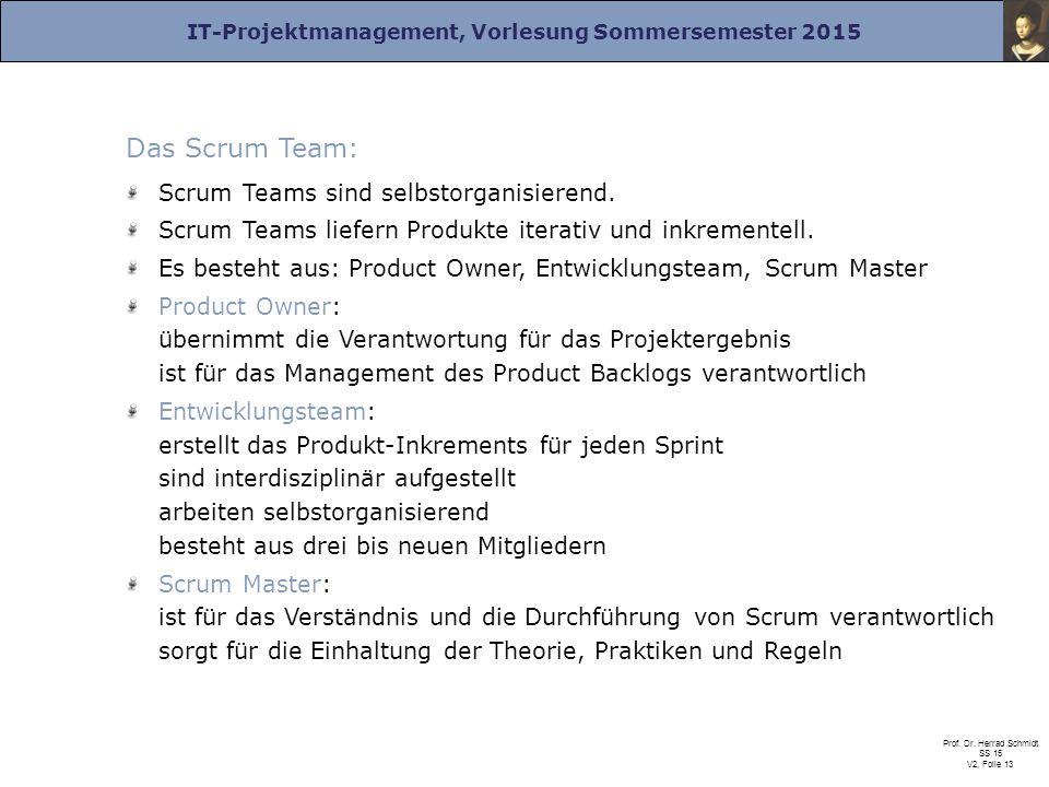 IT-Projektmanagement, Vorlesung Sommersemester 2015 Prof. Dr. Herrad Schmidt SS 15 V2, Folie 13 Das Scrum Team: Scrum Teams sind selbstorganisierend.