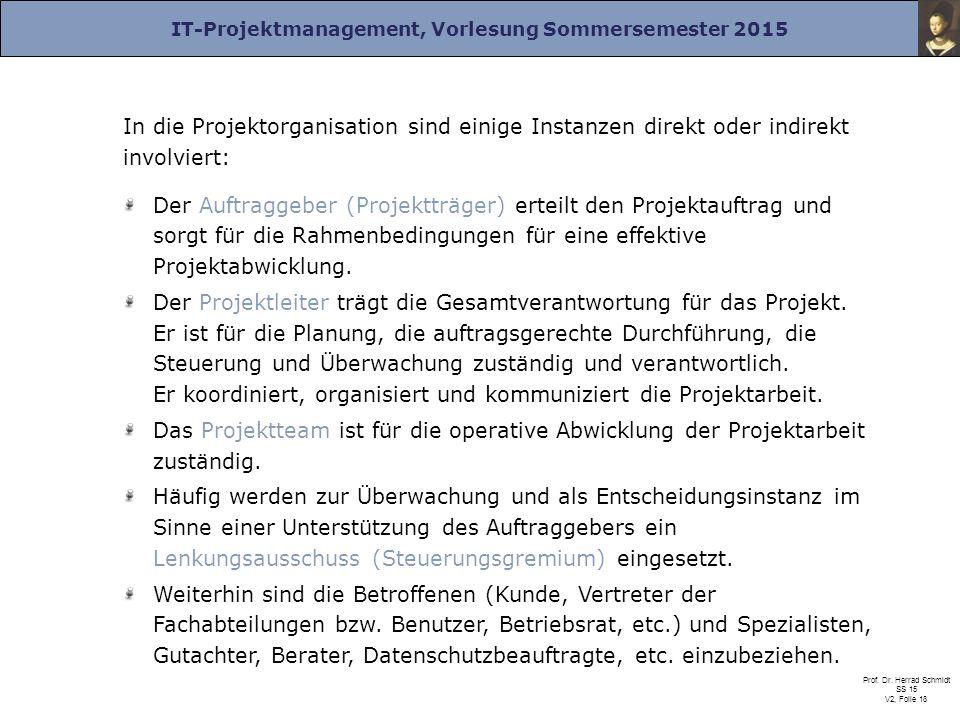 IT-Projektmanagement, Vorlesung Sommersemester 2015 Prof. Dr. Herrad Schmidt SS 15 V2, Folie 18 In die Projektorganisation sind einige Instanzen direk