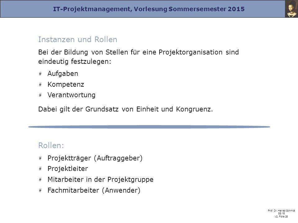 IT-Projektmanagement, Vorlesung Sommersemester 2015 Prof. Dr. Herrad Schmidt SS 15 V2, Folie 26 Instanzen und Rollen Bei der Bildung von Stellen für e