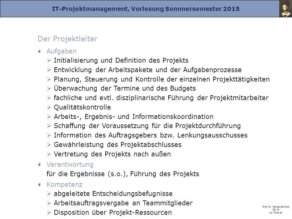 IT-Projektmanagement, Vorlesung Sommersemester 2015 Prof. Dr. Herrad Schmidt SS 15 V2, Folie 28 Der Projektleiter Aufgaben  Initialisierung und Defin
