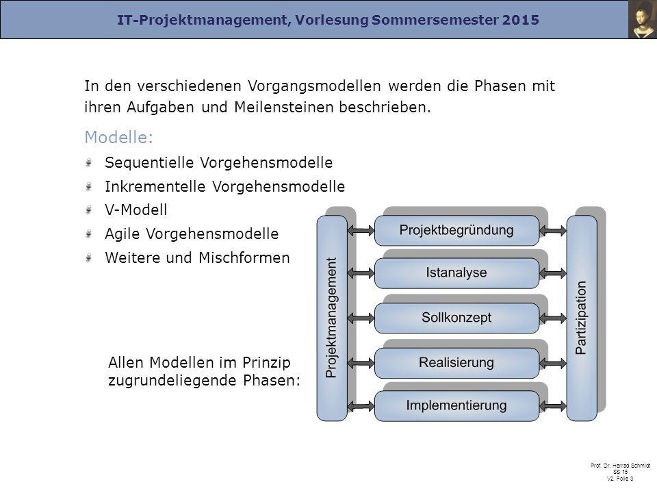 IT-Projektmanagement, Vorlesung Sommersemester 2015 Prof. Dr. Herrad Schmidt SS 15 V2, Folie 3 In den verschiedenen Vorgangsmodellen werden die Phasen