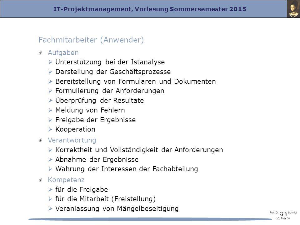 IT-Projektmanagement, Vorlesung Sommersemester 2015 Prof. Dr. Herrad Schmidt SS 15 V2, Folie 30 Fachmitarbeiter (Anwender) Aufgaben  Unterstützung be