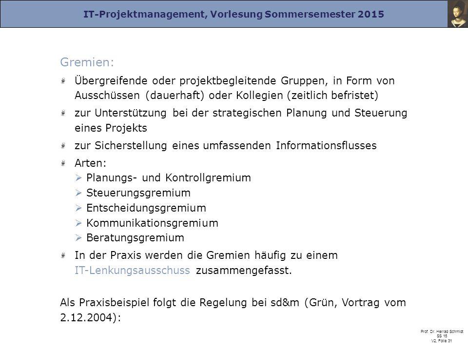 IT-Projektmanagement, Vorlesung Sommersemester 2015 Prof. Dr. Herrad Schmidt SS 15 V2, Folie 31 Gremien: Übergreifende oder projektbegleitende Gruppen