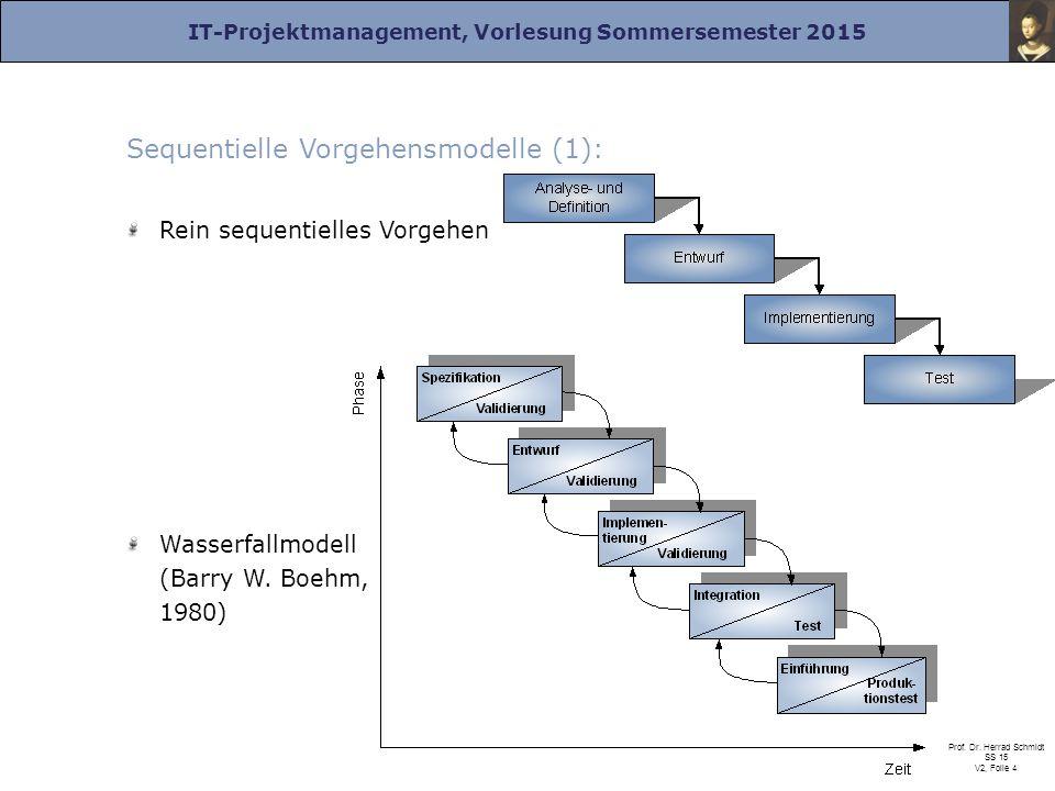 IT-Projektmanagement, Vorlesung Sommersemester 2015 Prof. Dr. Herrad Schmidt SS 15 V2, Folie 4 Sequentielle Vorgehensmodelle (1): Rein sequentielles V