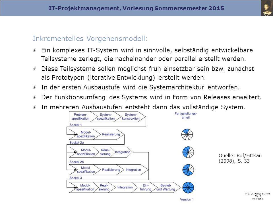 IT-Projektmanagement, Vorlesung Sommersemester 2015 Prof. Dr. Herrad Schmidt SS 15 V2, Folie 6 Inkrementelles Vorgehensmodell: Ein komplexes IT-System